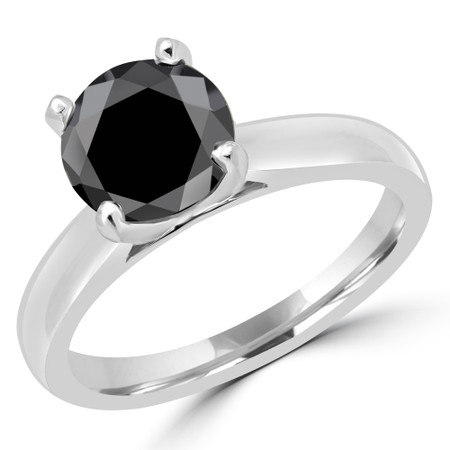 Round Cut Black Diamond Solitaire Cathedral-Set 4-Prong Engagement Ring in White Gold - #2545L-BLK-W
