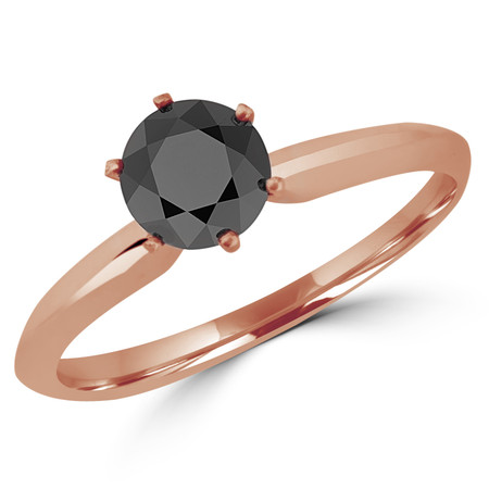Round Cut Black Diamond Solitaire 6-Prong Engagement Ring in Rose Gold - #S6R-BLK-R