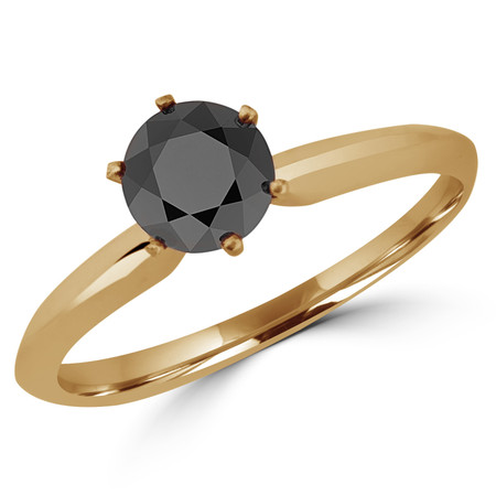 Round Cut Black Diamond Solitaire 6-Prong Engagement Ring in Yellow Gold - #S6R-BLK-Y