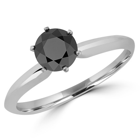 Round Cut Black Diamond Solitaire 6-Prong Engagement Ring in White Gold - #S6R-BLK-W