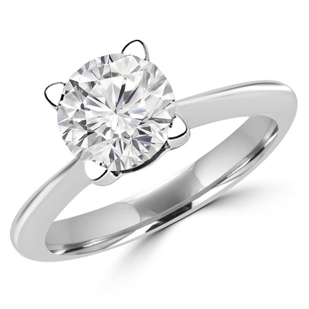 Round Cut Diamond Solitaire Tapered-Shank 4-Prong Engagement Ring in White Gold - #SRD2656-W