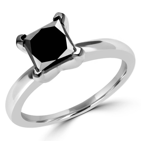 Princess Cut Black Diamond Engagement Ring 10K White Gold - #CDFRQC6241