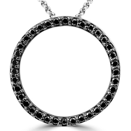 Round Cut Black Diamond Pendant 14K White Gold  With Chain - #CDPEOF3735