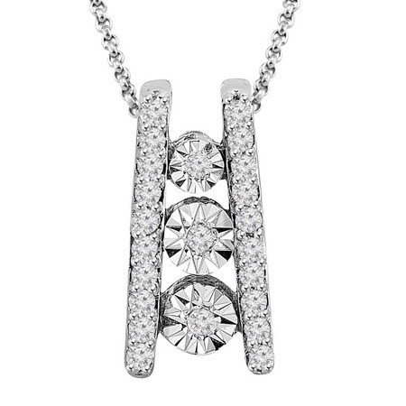 Round Cut Diamond Pendant 14k White Gold  With Chain - #PEOT2124