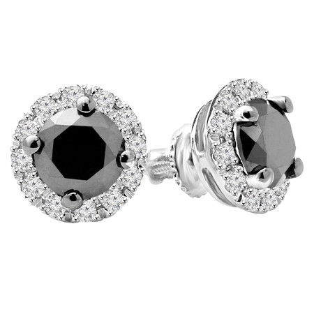 Round Cut Black Diamond Stud Earrings 10K White Gold  - #CDEAOH7378