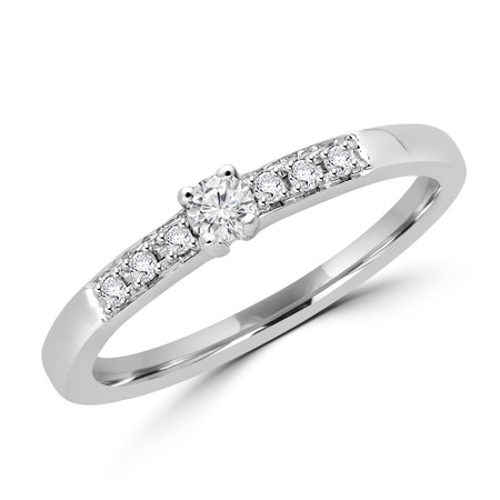 Round Cut Diamond Engagement Ring in White Gold - #CJFT888
