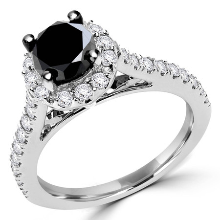Round Cut Black Diamond Engagement Ring 10K White Gold - #CDFRTQ6318
