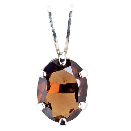 Oval Smoky Quartz Pendant .925 Sterling Silver  With Chain - #840E (P30)