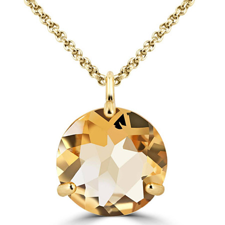 Round Cut Yellow Citrine Pendant 10K Yellow Gold  With Chain - #724B (P60)