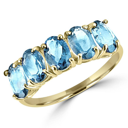 Oval Blue Topaz Cocktail Ring 10K Yellow Gold  - #783C (R300)