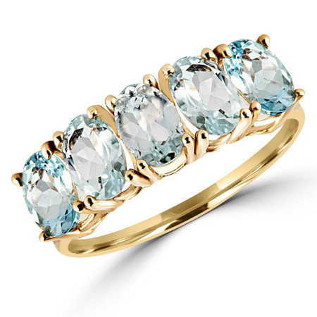 Oval Blue Aquamarine Cocktail Ring 10K Yellow Gold  - #783F R350