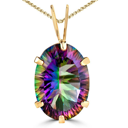 Oval Mystic Topaz Pendant 14K Yellow Gold  With Chain - #755D P175