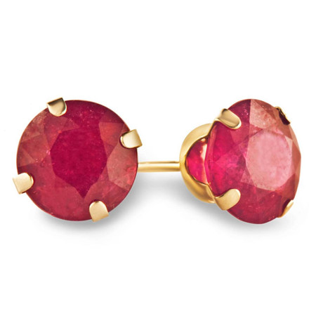 Round Cut Red Ruby Stud Earrings 14K Yellow Gold  - #E300-RUBY