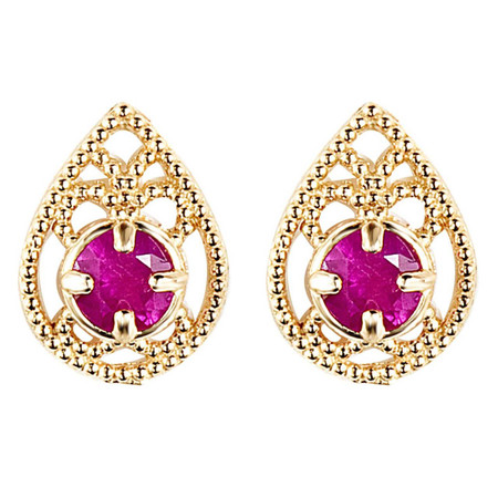 Round Cut Red Ruby Stud Earrings 14K Yellow Gold  - #E150-R