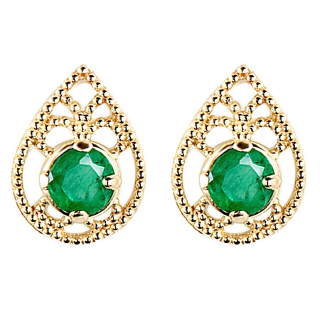 Round Cut Green Emerald Stud Earrings 14K Yellow Gold  - #E150-G