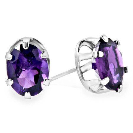 Oval Purple Amethyst Stud Earrings .925 Sterling Silver  - #841F E30