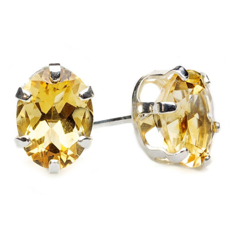 Oval Yellow Citrine Stud Earrings .925 Sterling Silver  - #841B E30