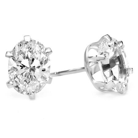 Oval White Topaz Stud Earrings .925 Sterling Silver  - #841D E30
