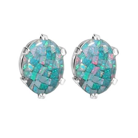 Oval Blue Opal Stud Earrings .925 Sterling Silver  - #841E E30
