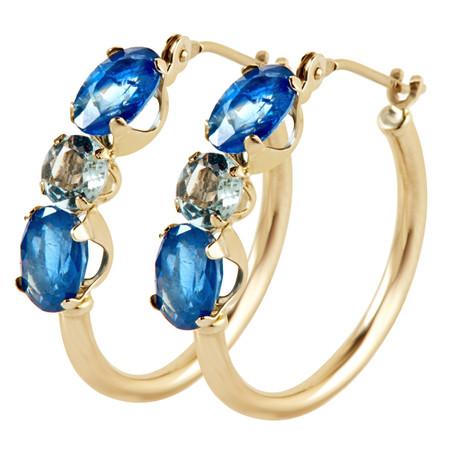 Oval Blue  Sapphire Hoop Earrings 14K Yellow Gold  - #E175