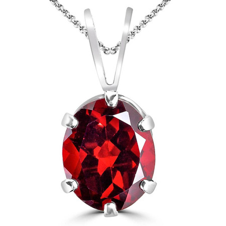 Oval Red Garnet Pendant .925 Sterling Silver  With Chain - #840C P30