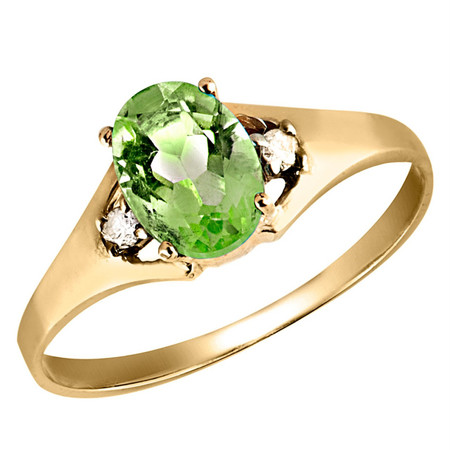 Oval Green Peridot Cocktail Ring 10K Yellow Gold  - #784 R200