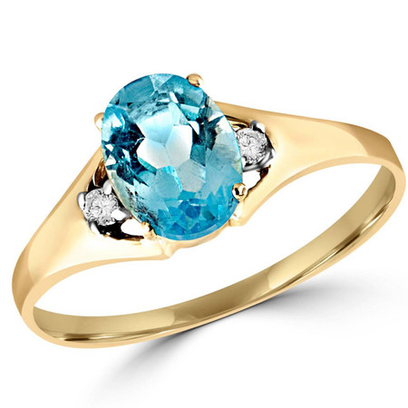 Oval Blue Topaz Cocktail Ring 10K Yellow Gold  - #784E R200
