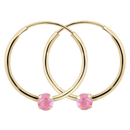 Round Cut Pink Tourmaline Hoop Earrings 14K Yellow Gold - #729C