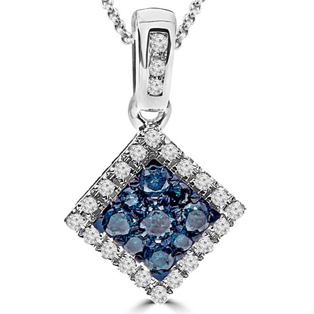 Round Cut Diamond Pendant 14K White Gold  With Chain - #CDIPTH8069
