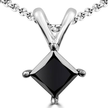 Princess Cut Black Diamond Pendant 10K White Gold  With Chain - #CDPECX8543