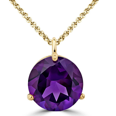 Round Cut Purple Amethyst Pendant 10K Yellow Gold  With Chain - #724A