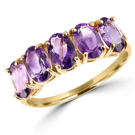 Oval Purple Amethyst Cocktail Ring 10K Yellow Gold  - #783A R300