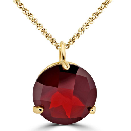 Round Cut Red Garnet Pendant 10K Yellow Gold  With Chain - #724C P60
