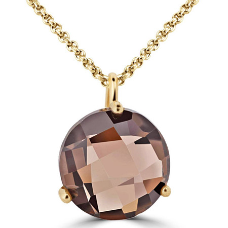 Round Cut Brown Topaz Pendant 10K Yellow Gold  With Chain - #724D P60