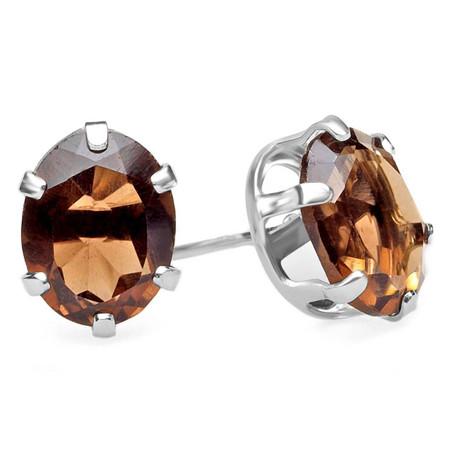 Oval Brown Quartz Stud Earrings .925 Sterling Silver  - #841C (E30)