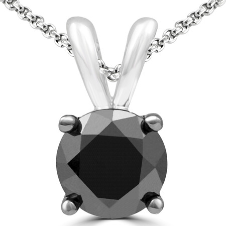 Round Cut Black Diamond Pendant 10K White Gold  With Chain - #CDPETQ2096