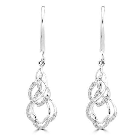 Round Cut Diamond Dangle Drop Earrings 14K White Gold  - #EAQT4457