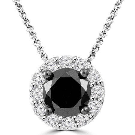 Round Cut Black Diamond Pendant 10K White Gold  With Chain - #CDPETQ7113