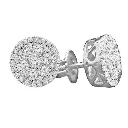 Round Cut Diamond Stud Earrings 14K White Gold  - #EAOH7485
