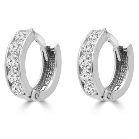 Round Cut White Cubic Zirconia Huggie Earrings 10K White Gold  - #SIN-E-10K-W-BABYHOOPS