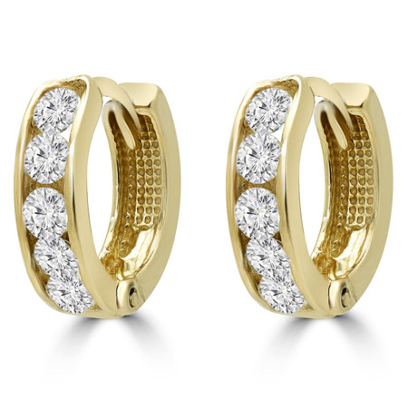 Round Cut White Cubic Zirconia Huggie Earrings 10K Yellow Gold  - #SIN-E-10K-Y-BABYHOOPS