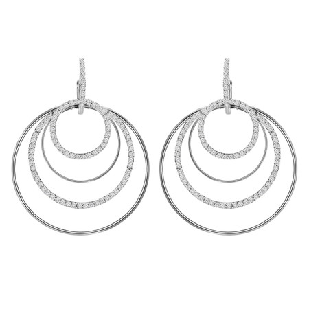 Round Cut Diamond Multi-Stone Dangle Drop Fashion 4-Prong Earrings in White Gold - #HDE2698-W