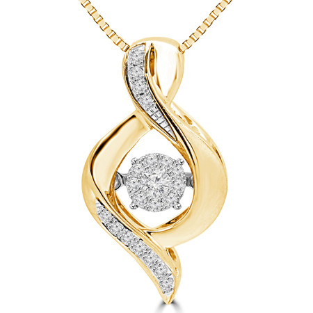 Round Cut Diamond Pendant 10K Yellow Gold  With Chain - #SKP15322-10-Y