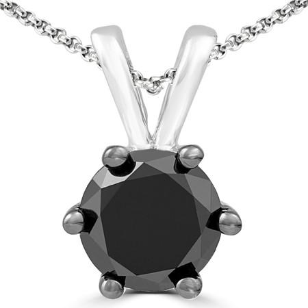 Round Cut Black Diamond Pendant 10K White Gold  With Chain - #CDPEOH5393