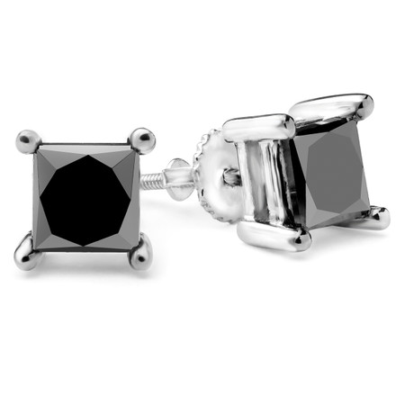 Princess Cut Black Diamond Stud Earrings 10K White Gold  - #CDEAO25830