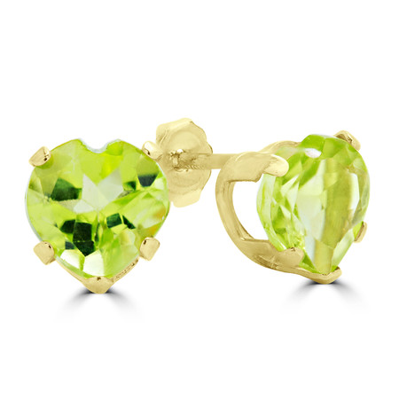 Heart Green Peridot Stud Earrings 10K Yellow Gold  - #E720E