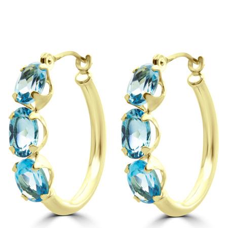 Oval Blue Topaz Hoop Earrings 14K Yellow Gold  - #410A