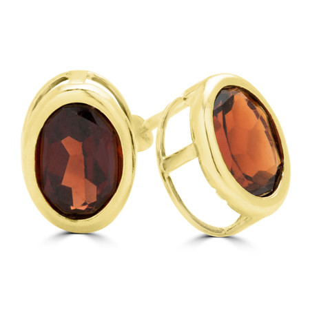 Oval Red Garnet Stud Earrings 14K Yellow Gold  - #E300