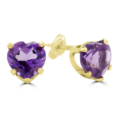 Heart Purple Amethyst Stud Earrings 10K Yellow Gold  - #E720A