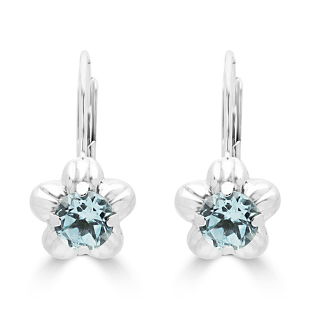 Round Cut Blue Aquamarine Dangle Drop Earrings 14K White Gold  - #400-A